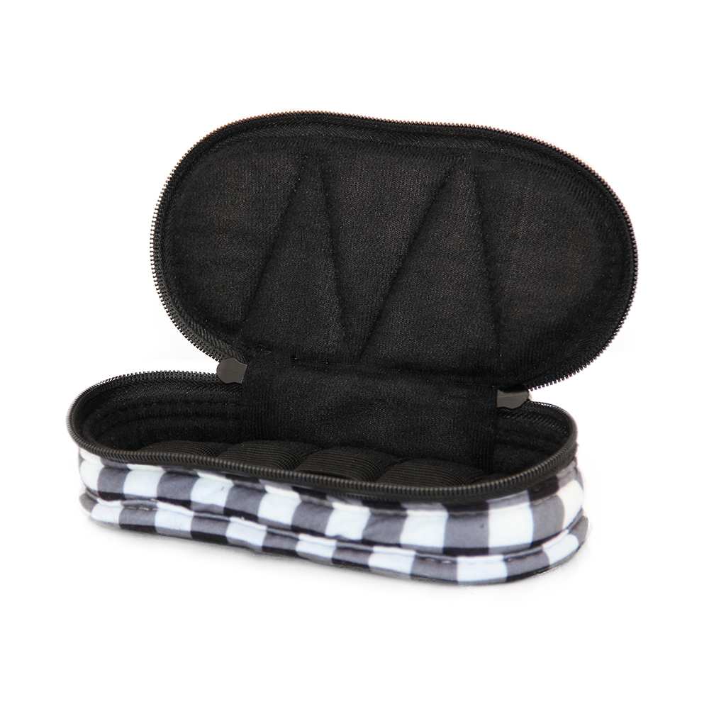 5-Bottle Purse-size Essential Oil Designer Carrying Case - Black/White Checkered w/Black interior