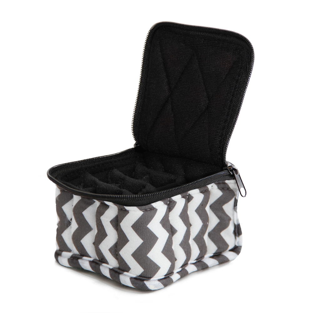 16-Bottle Essential Oil Designer Carrying Case holds 5ml bottles - Chevron - Light/Dark Grey w/Black interior - 3