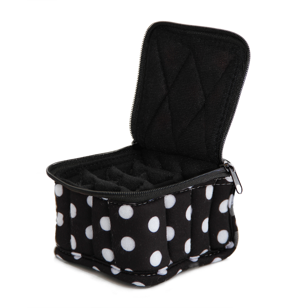 16-Bottle Essential Oil Designer Carrying Case holds 5ml bottles - Black/White Polka Dot w/Black interior - 3