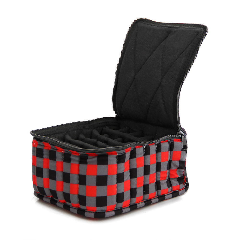 30-Bottle Essential Oil Designer Carrying Case holds 5ml, 10ml and 15ml bottles - Red/Black/Grey Checkered w/Black interior - 4